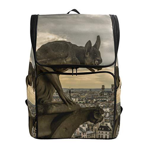 Mokale Wasserspeier-Schimären auf Kathedrale Notre Dame,Rucksack Rucksack Reisetasche Wanderrucksack College Student School Bookbag Reisetasche für Männer oder Frauen