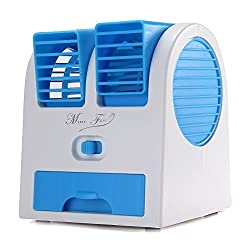 4 Color 5V 2.5W Mini Small Fan Cooling Portable Desktop Dual Bladeless Air Conditioner USB NEW Durable and Practical (BLUE)