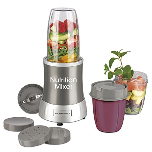 Bullet Original Magic Das (GOURMETmaxx 04505 Nutrition Mixer | inkl. Rezeptheft & To-Go Becher | Ideal für Smoothies & Cocktails  | 7 Funktionen | 700 Watt | Silber)