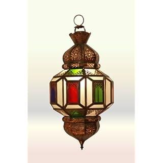 Moroccan Ceiling Lantern Marrakesh Flower - Clear & Multicoloured Glass - 50Cm -