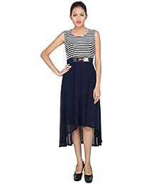 LondonHouze Belted Striped Dress Navy