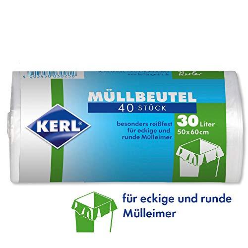 KERL 4003450030258 - Sacchi della spazzatura in HDPE, 30 l, 40 pezzi, 50 x 60 cm