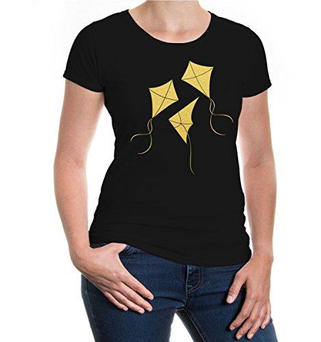 buXsbaum® Girlie T-Shirt Flugdrachen Black-Gold