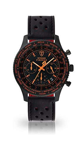 DETOMASO Firenze Herren-Armbanduhr Chronograph Analog Quarz schwarzes Edelstahlgehäuse schwarzes Zifferblatt - Jetzt mit 5 Jahre Herstellergarantie (Leder - Schwarz (Racing Style))