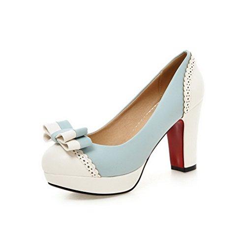 Damen PU Leder Hoher Rund Zehe Rein Ziehen auf Pumps Schuhe, Grau, 37 VogueZone009
