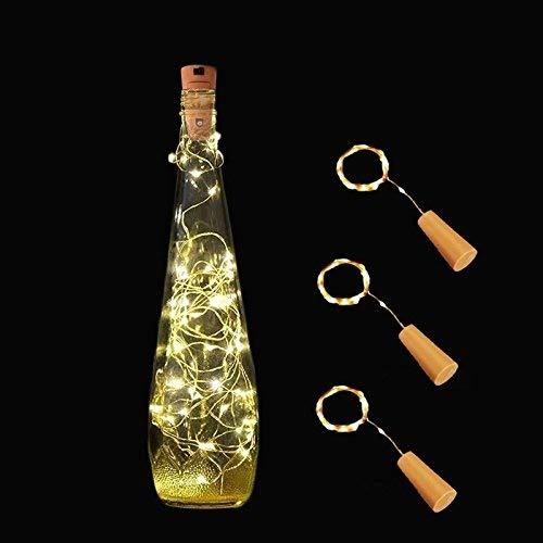 Preisvergleich Produktbild WUHAN YUNFEI TIANXIN YOUXIAN GONGSI 3 Wein Bottle Light String mit Kork batteriebetrieben 20 LED Draht Silber Licht LED Starry Lichterkette Beleuchtung,  Outdoor BBQ,  Gathering,  Party. weiß