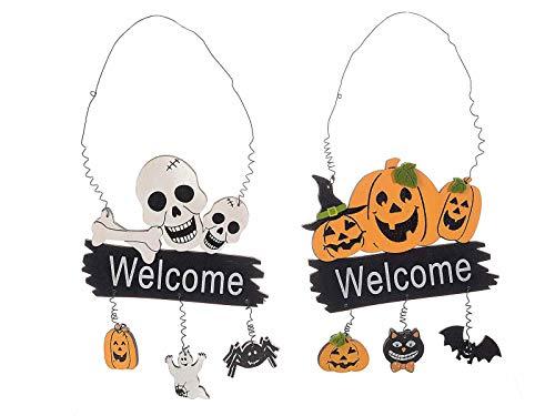 Ideapiu 6 Großhandel Holz Halloween Dekoration zum Aufhängen mit Willkommen Misure:Insegna: cm 14 x 11 H Con gancio e pendenti: 26,5 H