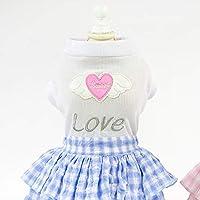 AHJSN Pet Clothing Summer Clothes Dog Skirt Spring And Summer New Love Skirt L [3-4.2Kg] Blue