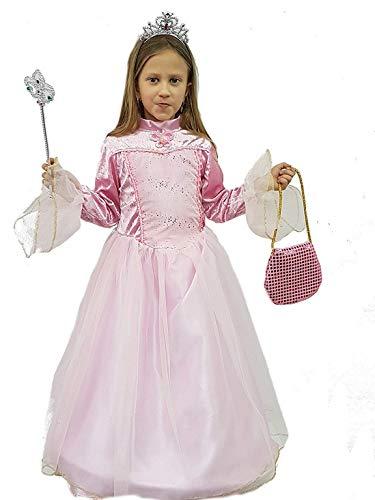 (PICCOLI MONELLI Kostüm Cinderella Mädchen Prinzessin Ballkleid Fasching Karneval 4 anni Altezza 89 cm spalla Terra Rosa)