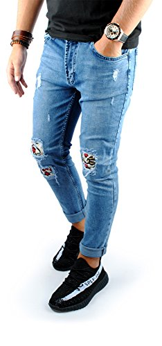 FiveSix Herren Slim-Fit Used-Look Denim Destroyed-Look Zerrissen Löcher Blumen Bikerjeans Skinny Jeans Hose mit Stretch Blau