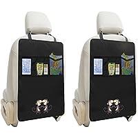 2PCS Kick Mats Car Organisers Waterproof Car Back Seat Protectors with Multi Use Storage Organizer Pocket for Ipad mini Book Toys,Black (Monkey Design)