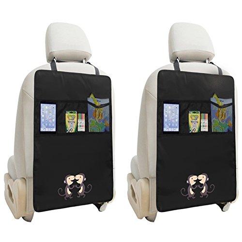ZUOAO 2 Pezzi Protezione sedile Auto per Bambini Auto con Tasche, Protettori di Seggiolini Impermeabile e Resistente, Universal Stuoia di Protezione anti-macchia di Piedi dei Bambini Scimmia