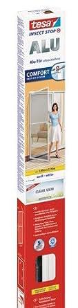tesa Insect Stop Fliegengitter Alu COMFORT für Türen / Zuschneidbares Insektengitter mit Aluminium-Rahmen und ClearView-Gewebe / 100 cm x 220 cm