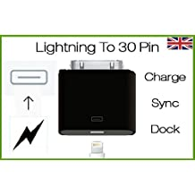 NEW IN BLACK Lightning 8 Pin Female to 30 Pin Male Adapter for iPhone 4S iPad 3 iPod Touch 4 UK - SAME DAY DESPATCH WITH DIGITECK, [Importado de Reino Unido]