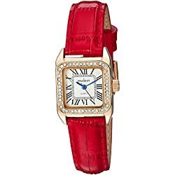 Peugeot Womens 14K Gold Plated Square Tank Petite Small Red Leather Band Luxury Dress Watch 3052RD