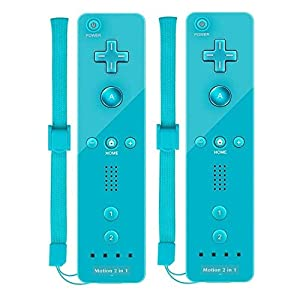 Ameego TheMax WII U Nintendo Remote Console Joystick Controller X2 Built in Motion Plus 2 in 1 Remote Multi Player Nintendo Wii Games Controller + FREE SILICONE COVER AND STRAP (Bright Blue