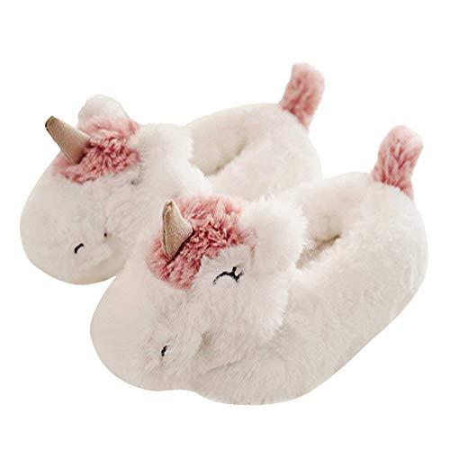 Minetom Damen Hausschuhe Winter Baumwolle Pantoffeln Plüsch Wärme Weiche Cute Tiere Hausschuhe Kuschelige Home rutschfeste Slippers 13 Einhorn Geschlossen 38-39 EU