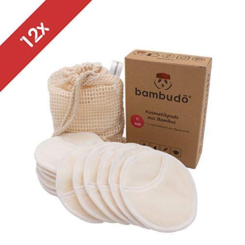 Baumwolle Pad (bambudo® Waschbare Abschminkpads aus Bambus-Viskose | 12er Box wiederverwendbare Wattepads | 1 Waschsack aus Baumwolle | Kosmetikpads wiederverwendbar (12 Pads))