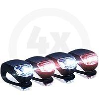 Collory mini LED Silikon-Leuchten Set inkl. Batterien   Kinderwagen-Beleuchtung   Wasserfeste Sicherheitsleuchten   Tretroller-Licht   Kinder Laufrad Lampen   Einfache Montage ohne Werkzeug   Schwarz