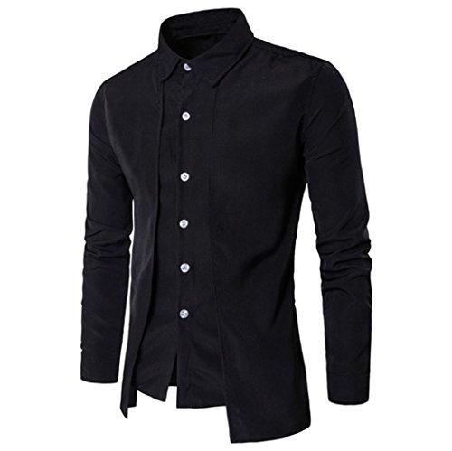 FORH Herren Slim Hemd Simple Mode Solid Farbe Langarmshirt Formell business hemden Freizeit Stehkragen Shirt Casual Shirt Trachtenhemd T-Shirt fürsOktoberfest geeignet (M, Schwarz)