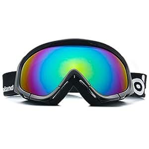 Lunettes de Ski antibrouillard - ODOLAND Masque de Ski étanche pour Homme & Femme avec UV400 Protection - Gris Lentille double et sphérique - unisexe  Lunettes confortable pour Jours ensoleillés, nuageux