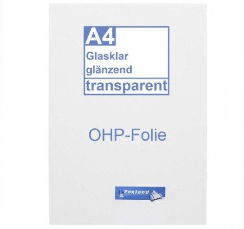 OHP Inkjetfolie A4, 10 x klare Druckerfolie, Overhead Projektor Folie beschichtet für Farb Inkjetdrucker Tinte