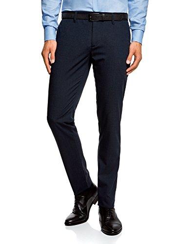 oodji Ultra Hombre Pantalones Clásicos con Cinturón, Azul, ES 42 (M)