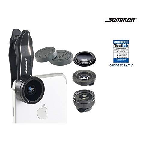 Somikon Smartphone Objektiv: 4in1-Vorsatzlinsen-Set mit Weitwinkel, Fischauge, Makro und Pol-Filter (Handyobjektive)