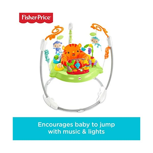 Fisher-Price CHM91 Roaring Rainforest Jumperoo, New-Born Baby Activity Centre with Music and Lights 1