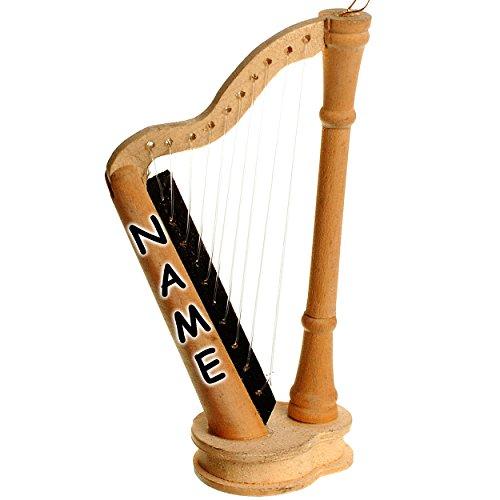 Unbekannt Miniatur Harfe - aus hellem Natur Holz / Maßstab 1:12 - inkl. Name - Saiten Musikinstrument klein - Konzertharfe - Harfeninstrument - Diorama - für Puppenstub..