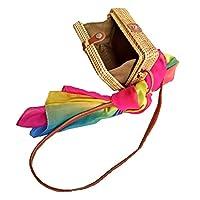 Zinuo Exquisite Straw Bag Women Rattan Woven Shoulder Handbag Summer Beach Crossbody Bag (Square)