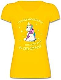 Einschulung - Einschulung Einhorn Tschüss Kindergarten - Mädchen T-Shirt