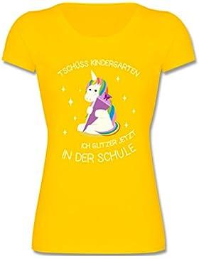 Shirtracer Einschulung - Einschulung Einhorn Tschüss Kindergarten - Mädchen T-Shirt