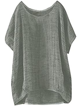 QinMM Blusa Fina Suelta Casual de Mujer, Tops Camisa de Manga Corta Camiseta Ropa de Playa Bikini Cover up