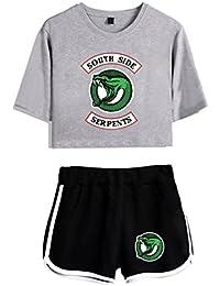 ZIGJOY Riverdale Crop Top T-Shirts and Shorts Traje de Ropa para niñas y Mujeres XS