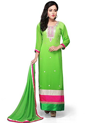 Utsav Fashion Straight Cut Embroidered Georgette Suit In Green Color