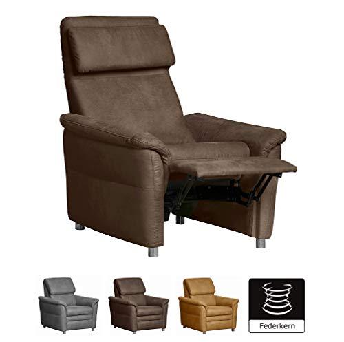 Cavadore Sessel Chalsay inkl. verstellbarem Kopfteil und Relaxfunktion / mit Federkern / moderner Kinosessel in wildlederoptik / Größe: 90 x 94 x 92 cm (BxHxT) / Farbe: Braun (chocco)