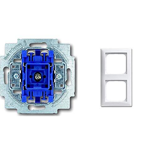 Busch-Jaeger 2000/6USGL 1012-0-1127 Wechselschalter Mit Beleuchtung, 250 V, Blau, Grau & 1722-914 Rahmen 2-fach alpinweiß Busch-Balance SI -
