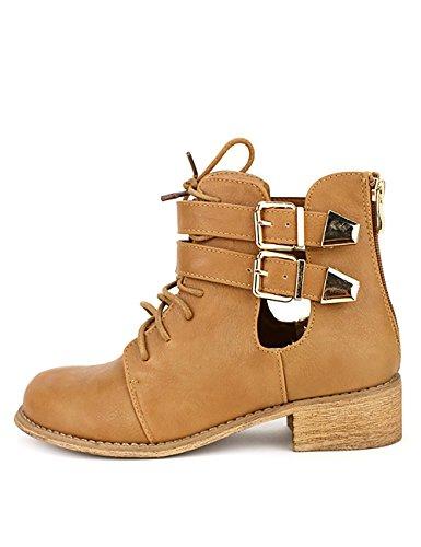 Cendriyon Bottine Simili Cuir Camel RETRANA Chaussures Femme Caramel