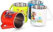HOMETRONICS Stainless Steel Coffee Mug - Set Of 4, Multicolour, 330Ml