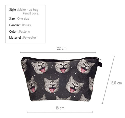 Kukubird Divertimento Nuovo Animale Foto Modello Stampa Make-up Bag Con Sacchetto Di Polvere Di Kukubird Smile Cat