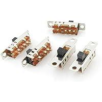 DealMux 5 Pcs 8 Solder Lug Pin 3 Posição 2P3T DP3T Painel Mini Slide Switch