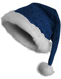 Weihnachtsmütze Nikolausmütze mit Pelzrand und Glitzer in blau