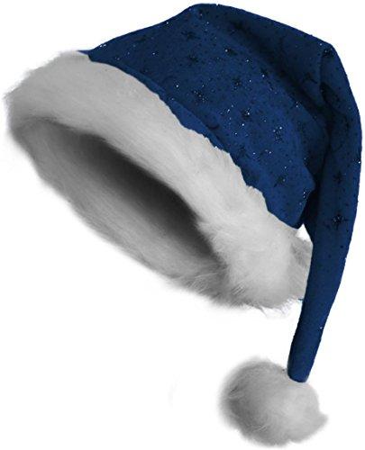 Weihnachtsmütze Nikolausmütze mit Pelzrand und Glitzer in blau Farbe blau