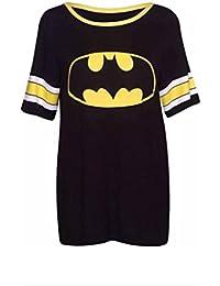 Womens Superman Batman Superhero Logo Print Short Sleeve Round Neckline Stretch Ladies Baseball Long T-Shirt Top Batman Size 12 - 14