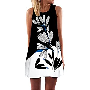 TUDUZ Damen Sommer Vintage Boho Ärmelloses Sommerstrand Gedruckt Kurzes Minikleid Blumenkleid T-Shirt Tops Kleider-Faschingskostüme