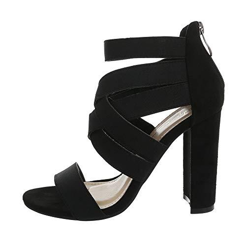 Ital-Design - Sandali da Donna con Tacco Alto, Nero (Schwarz Xk-0121-), 39 EU
