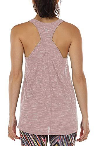 icyzone Damen Yoga Fitness Tank Top Lang - Training Jogging Ärmelloses Shirt Sport Oberteil Tops (S, Cameo Brown)