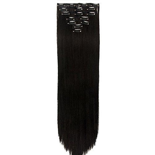 Neverland Beauty 7 Tressen Haarverlangerung Glatt Clip In SET Extensions Haarverdichtung Naturlich Schwarz (24 Schwarze Clip In Haar Extensions)