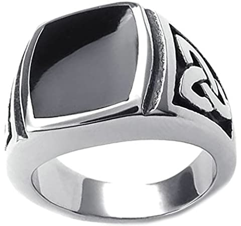 Gnzoe Jewelry,Mens Stainless Steel Rings Bands, Big Square Black Cubic Zirconia Celtic Pattern Size